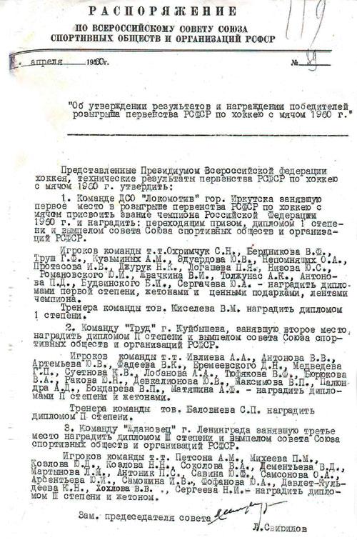 Чемпионский приказ «Локомотива»